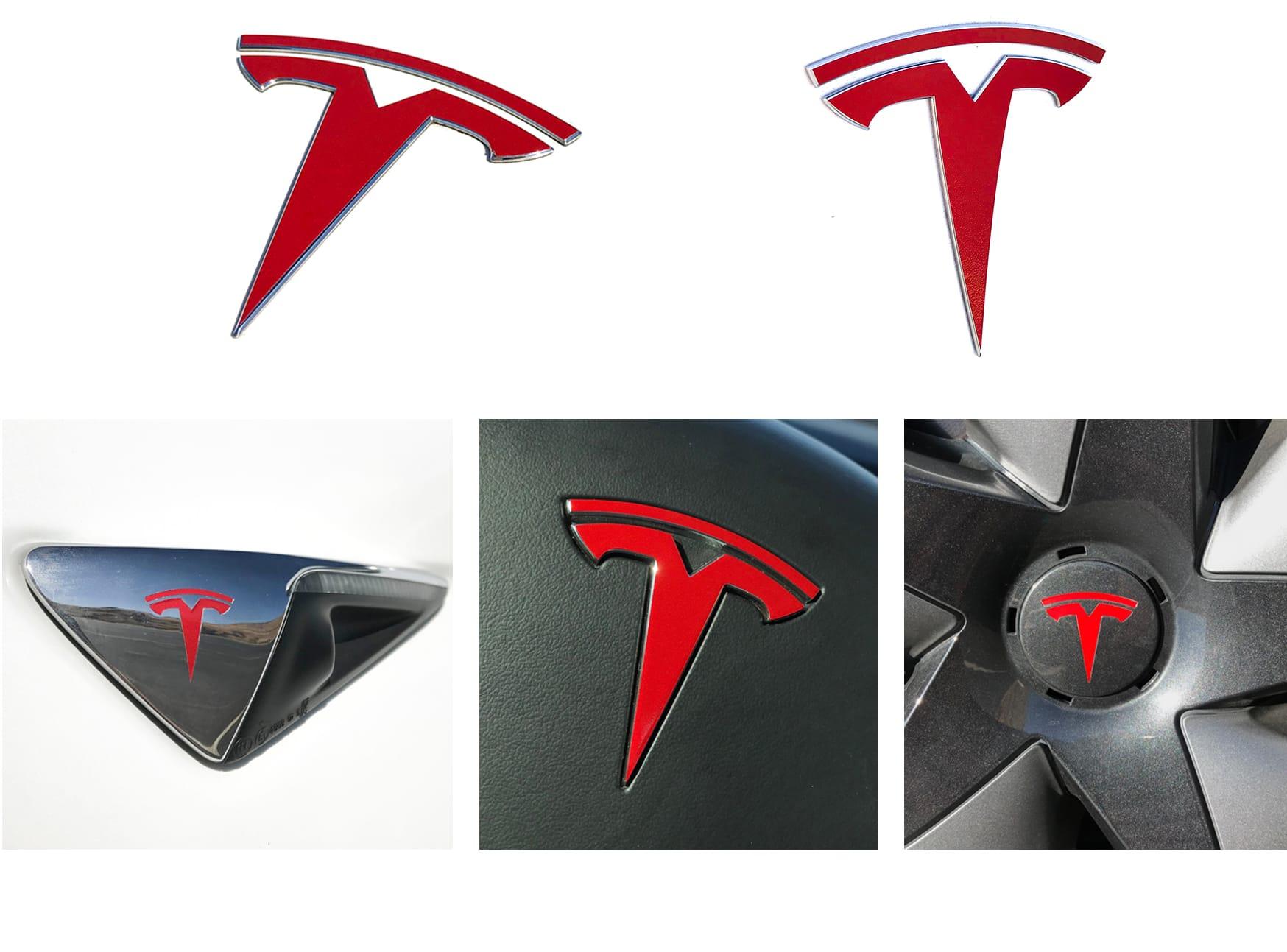 color rojo brillante Tesla Model 3 Logo Wrap Set de pegatinas 11 unidades